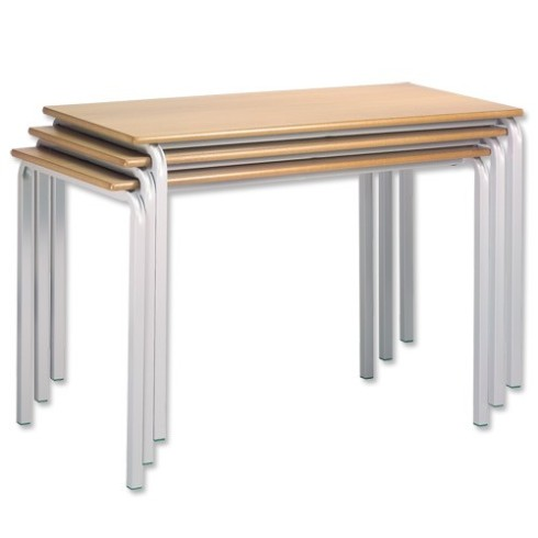 Stacking tables, beech frames with plywood tops surfaced in plastics of different colours, or in various wood veneers.