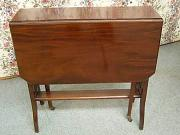 Drop Leaf table, elm or mahogany top on birch underframe