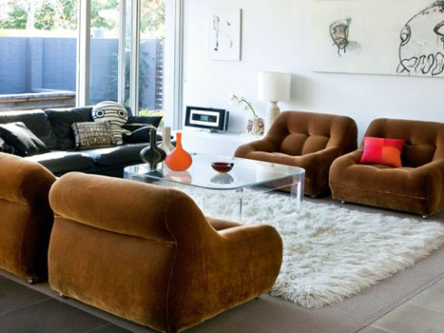 1970's living room by Galerie Vanlian, Rnvy Interiors and Vick Vanlian