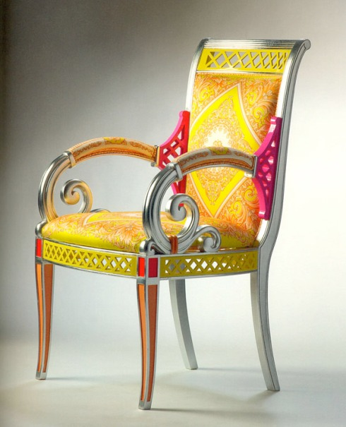 Vanitas II Armchair (Versace): Bright, lively colors for this new version of the Vanitas armchair.