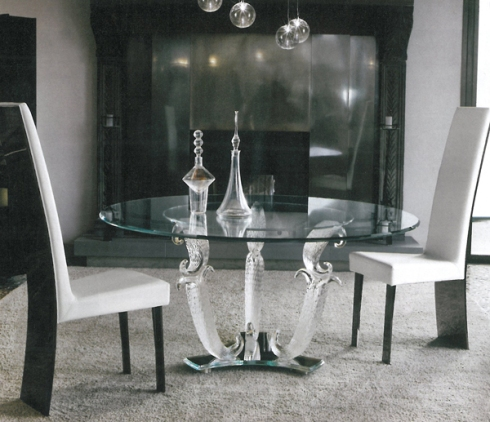 Casanova: Dining table with Murano glass legs, handmade according to a traditional venetian design, available in transparent or fine-gold finish, designed by reflex.