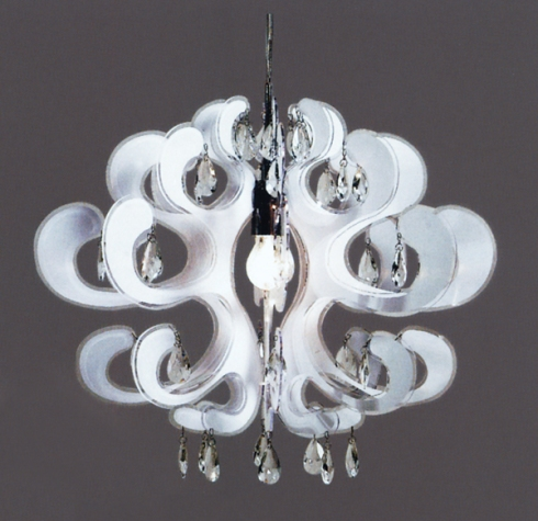 Flower Lamp: Vanlian Design in plexi with hanging crystals, available in two sizes.