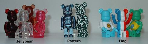 Bearbrick Toys in Jellybean, Pattern, and Flag Cusotomizations