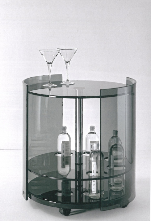 6000 fumé: Bar trolley with curved sides, designed by reflex.