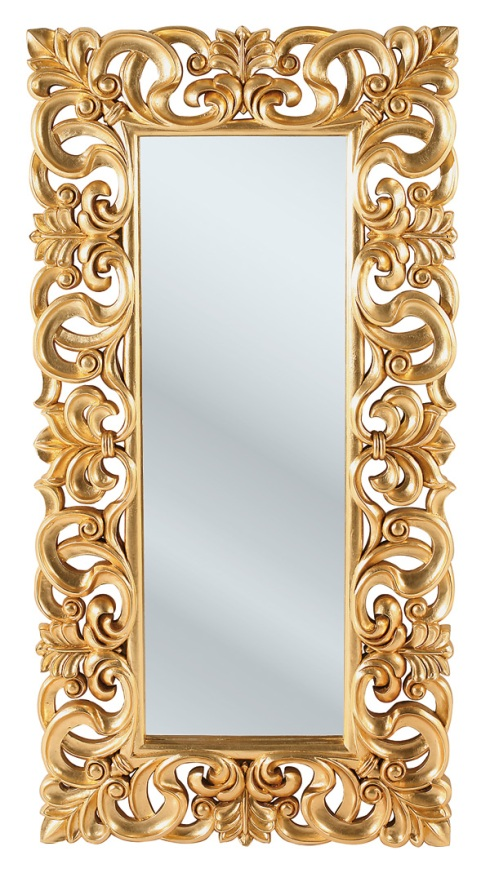 Arthur: Mirror with thick gold carving projecting a royal image. Available also in black & silver.