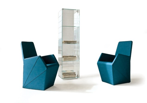 Zagon: Create your own funky corner chairs and Vitrine all made up of glass.