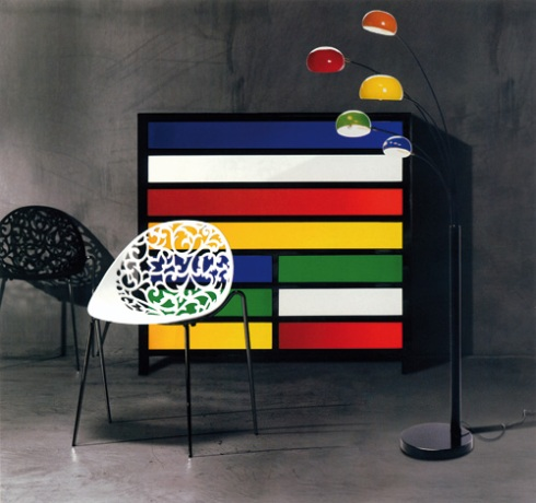 Mix: Enjoy our unique mix of Styles, black and white chairs, multicolor chest of drawers and matching floor lamp.