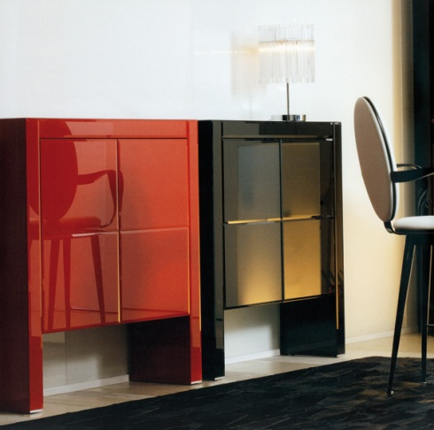 Xima: Two door cabinet black and red lacquered.