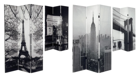 Cosmo: Room divider with New York & Paris city prints.