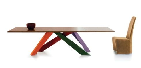 Geo Table: Solid oakwood top with multicolored lac- quered metal legs. Made by Bonaldo.