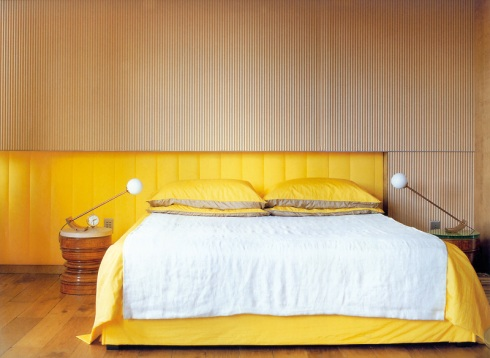 Penelope Bed: Leather headboard with wood frame, available in sizes :120cm & 140cm. Designed by Vanlian
