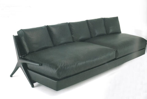 DC 290: Sofa made in solid American walnut stained brown, seat and back-rest cushions with down filling