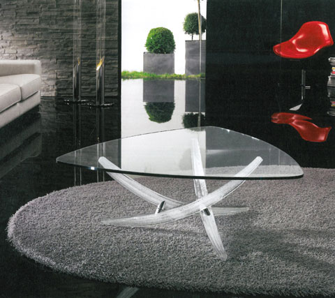File d'Erba 40: Coffee table with Murano glass base, designed by Tulczinsky