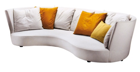 Perla: A very relaxing round corner ideal for Monday night movies. Available in different fabrics, Vanlian Design.