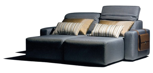 Gabriella: Build your love rest around this two seater loveseat with movable headrest and books magazine holder on the side.
