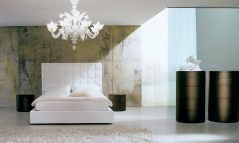 Gacia: Handmade ceiling lamp all in white Murano glass. High head Bed all in white leather, with brown night stands.