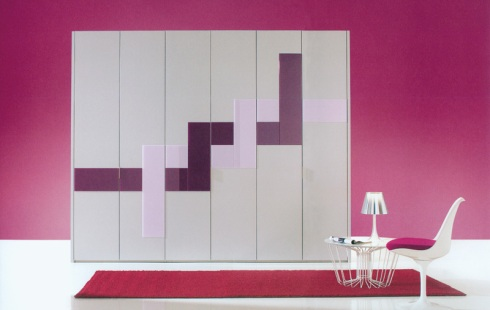 Helena: Six door wardrobe, in white lacquered with colored graphic lines. Also available in different colors, sizes and graphics.