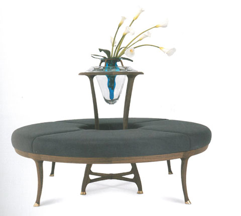 Large Flower: round sofa, made in solid American cherry-wood or American walnut, upholstered seat