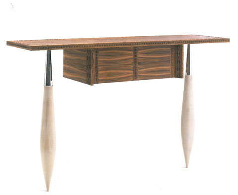 Imrat: hand-carved console made in rose-wood or mahogany, maple legs