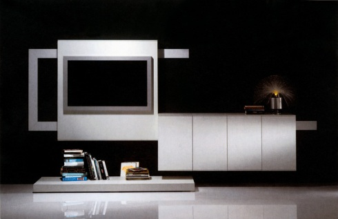 Lines: Wall unit with a T.V. System mechanism by Reflex.