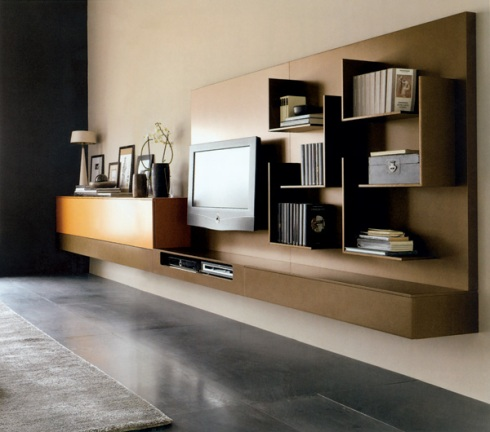 Box: Wall system composed of different elements, cabinets and shelves storage.
