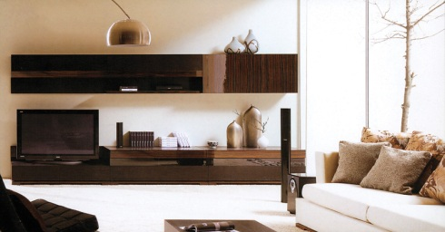Passion: Wall unit in lacquered ebony wood. Can be customized according to your space.